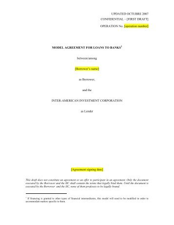 [operation number] MODEL AGREEMENT FOR LOANS TO BANKS ...