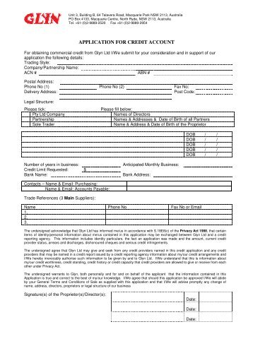 APPLICATION FOR CREDIT ACCOUNT
