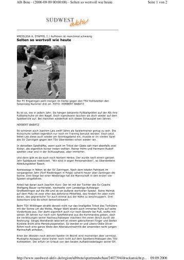 Seite 1 von 2 Alb Bote - (2006-09-09 00:00:00) - Selten so wertvoll ...