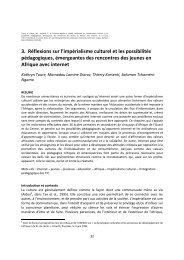 3. Réflexions sur l'impérialisme culturel et les ... - Thierry Karsenti