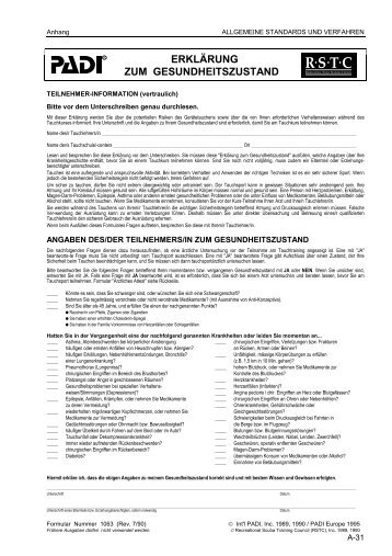 PADI Erklärung zum Gesundheitszustand - AQUATICA
