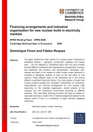 eprg working paper - Electricity Policy Research Group - University ...