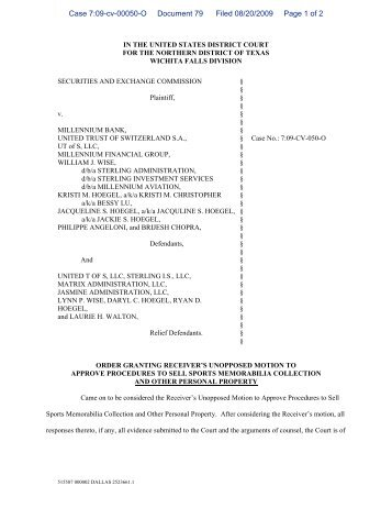 Order Granting Receiver's Motion to Approve Procedures to Sell ...