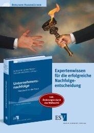Expertenwissen für die erfolgreiche Nachfolge - Erich Schmidt Verlag