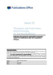 T2 Technical and functional specifications - Europa