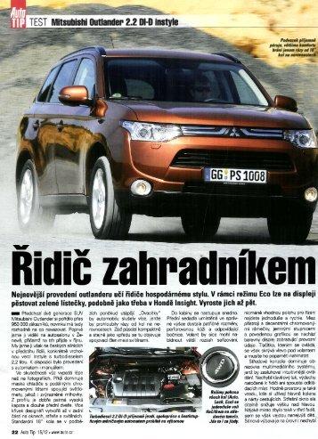 Test Nový Mitsubishi Outlander 2.2 DI-D Instyle - M Motors CZ, s.r.o.