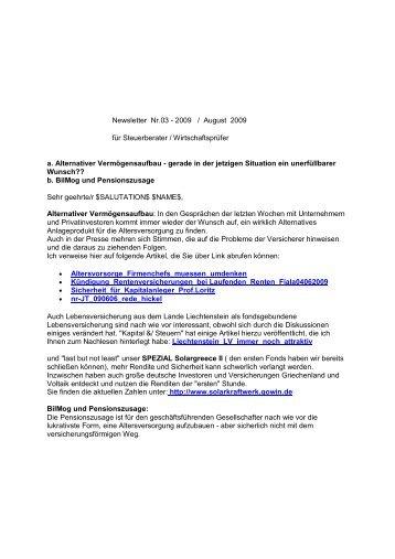 Newsletter Nr.03 - 2009 / August 2009 für Steuerberater ... - Gowin