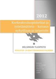 Korkeakouluopiskelijat ja työelämätieto – katsaus ... - Helsinki.fi