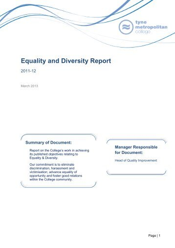 Equality and Diversity Report - Tyne Metropolitan College