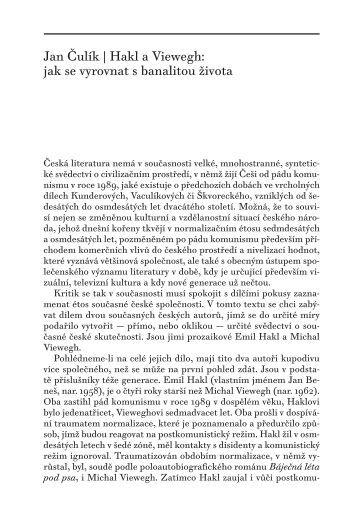 Hakl a Viewegh: jak se vyrovnat s banalitou života - University of ...
