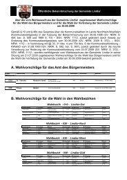 A. Wahlvorschläge für das Amt des Bürgermeisters - Gemeinde Lindlar