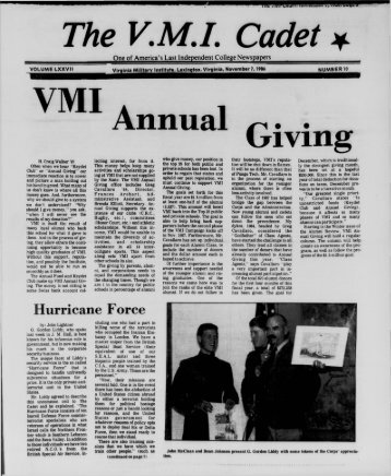 The Cadet. VMI Newspaper. November 07, 1986 - New Page 1 ...