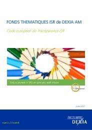 FONDS THEMATIQUES ISR de DEXIA AM - Dexia Asset Management