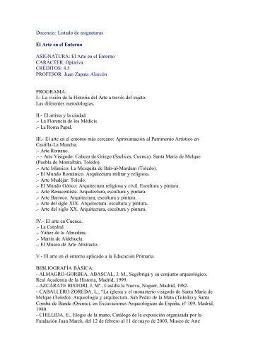 Docencia: Listado de asignaturas El Arte en el Entorno ...