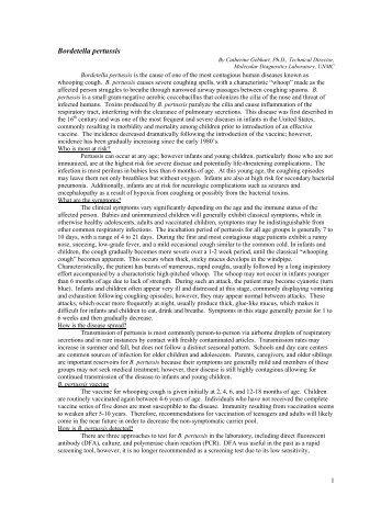 Bordetella pertussis - the Nebraska Public Health Laboratory