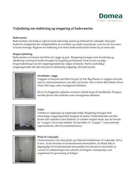 Vejledning om etablering og rengøring af badeværelse - Domea