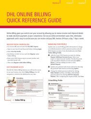 DHL ONLINE BILLING QUICK REFERENCE GUIDE