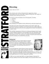 Directing - Stratford Festival