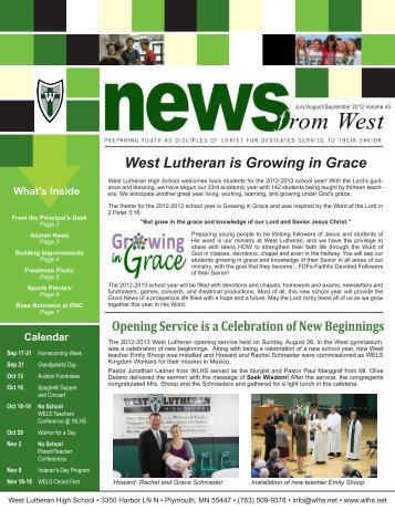 West Lutheran is Growing in Grace - West Lutheran High School