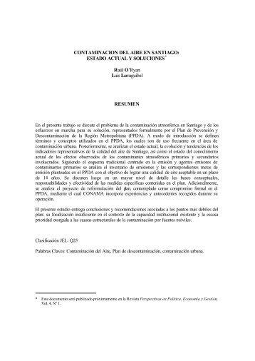CONTAMINACION DEL AIRE EN SANTIAGO - Universidad de Chile
