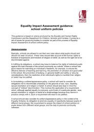 Equality Impact Assessment guidance: school uniform policies