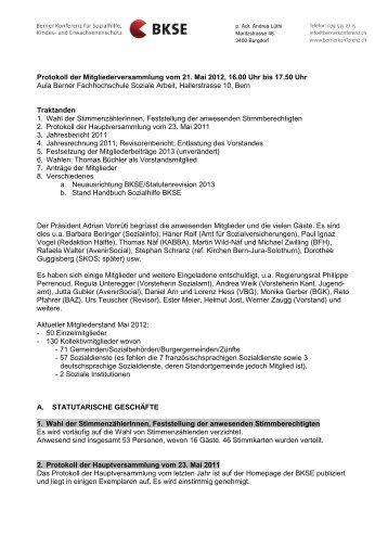 Protokoll Mitgliederversammlung 2012 - Berner Konferenz für ...