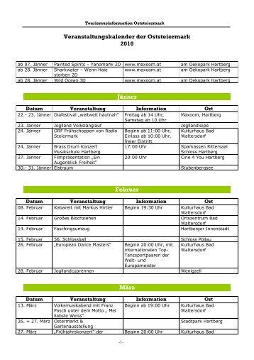 Veranstaltungskalender der Oststeiermark 2010 J;nner Februar M;rz