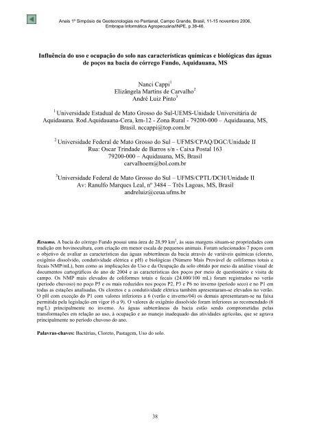 Influência do uso e ocupação do solo nas ... - mtc-m17:80 - Inpe