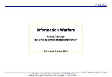 Information Warfare/ Cyberwar - Prof. Dr. Heinz-Michael Winkels