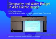 Geography and Water Budget in Asia Pacific Region