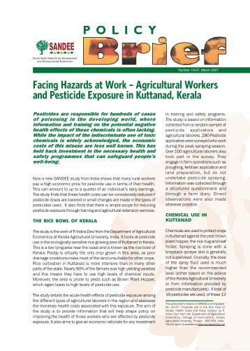 Agricultural Workers and Pesticide Exposure in Kuttanad, Kerala