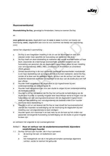 campuscontract zelfstandige woonruimte (pdf, 303kb) - studenten