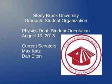 Stony Brook University Graduate Student Organization Physics Dept ...