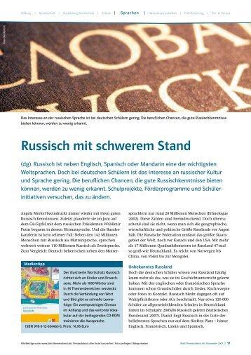 Russisch mit schwerem Stand - Deutscher Russischlehrerverband eV