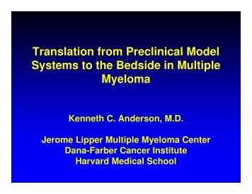 Translation from Preclinical Model Systems to the Bedside in ...