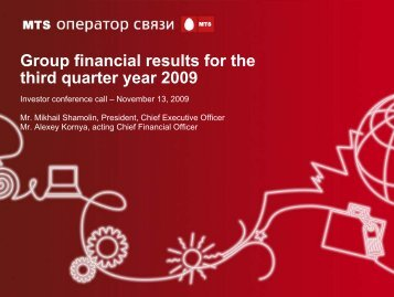 Group financial results for the third quarter year 2009 - Mobile ...