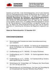 Referendum der Gemeindeversammlung vom 16 ... - Menziken