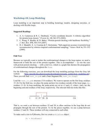 Workshop #8: Loop Modeling - Gray Lab