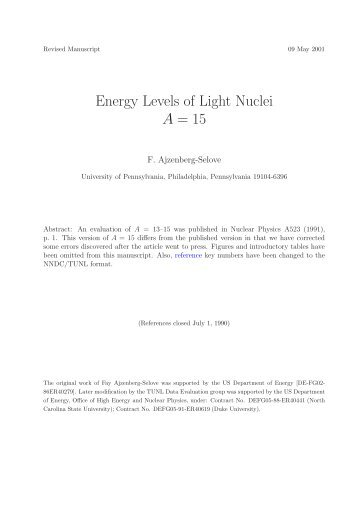 Energy Levels of Light Nuclei A = 15 - Triangle Universities Nuclear ...
