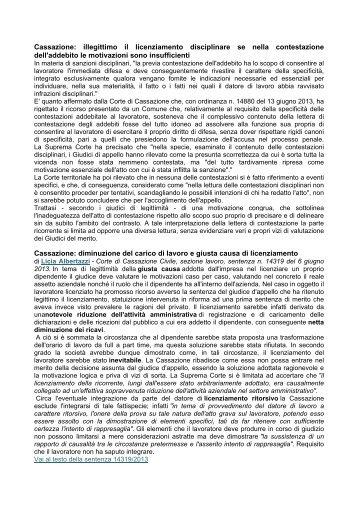 Cassazione: illegittimo il licenziamento disciplinare se nella ... - Ospol