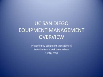 UC SAN DIEGO EQUIPMENT MANAGEMENT ... - Academic Affairs