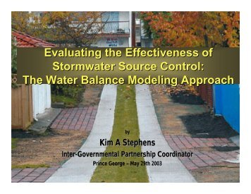 Prince George Stormwater Management Seminar - Waterbucket