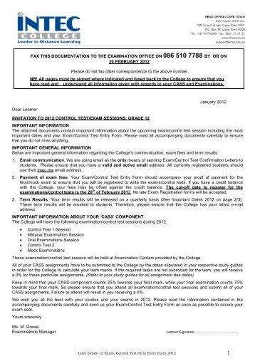 exam/control test/oral entry form 2012 grade 12 - INTEC College