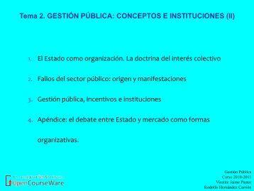 Tema 2. GESTIÓN PÚBLICA: CONCEPTOS E INSTITUCIONES (II)