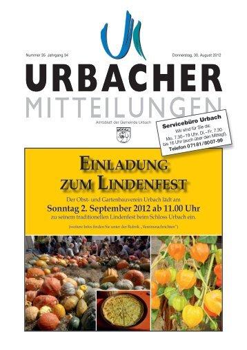 Sonntag 2. September 2012 ab 11.00 Uhr - Gemeinde Urbach
