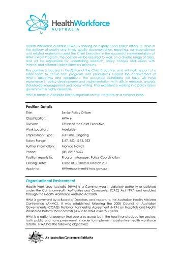 Position Details Organisational Environment - Health Workforce ...