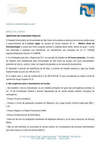 HOSPITAL UNIVERSITÁRIO DA USP EDITAL HU 113/2012 ...