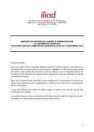 Rapport de gestion du conseil d'administration - Iliad