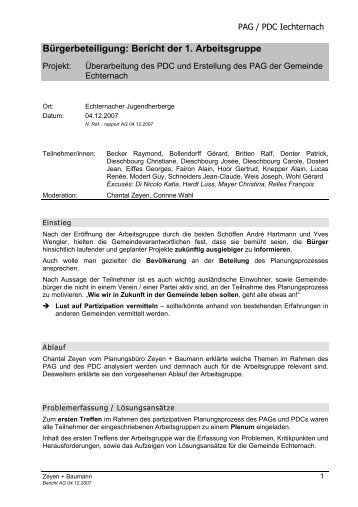 Bürgerbeteiligung: Bericht der 1. Arbeitsgruppe - Echternach
