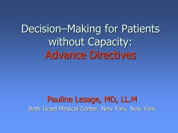Advance Directives - Department of Pain Medicine and Palliative Care